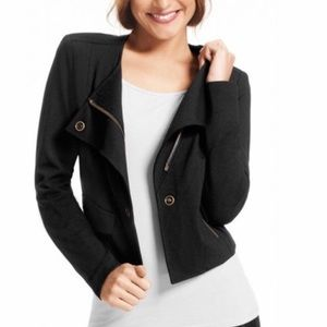 CAbi black Moto Ponte Knit Jacket blazer / Large